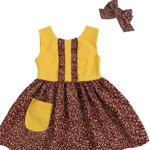 Other - Girls matching bow lotus leaf dress